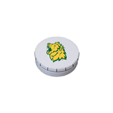 White Round Peppermint Clicker Tin-Lion Head