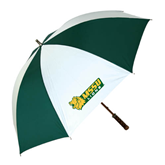 62 Inch Forest Green/White Umbrella-MSSU Lions w/Lion Head