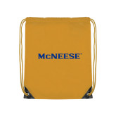 Gold Drawstring Backpack-McNeese