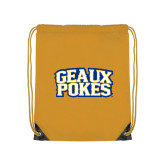 Gold Drawstring Backpack-Geaux Pokes Stacked