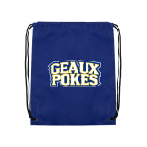 Royal Drawstring Backpack-Geaux Pokes Stacked