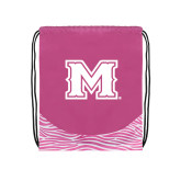 Nylon Zebra Pink/White Patterned Drawstring Backpack-M