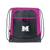 Nylon Pink Raspberry/Deep Smoke Pocket Drawstring Backpack-M