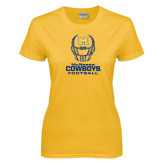 Ladies Gold T Shirt-Football Helmet Design