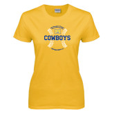 Ladies Gold T Shirt-Baseball Seams Design