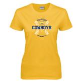 Ladies Gold T Shirt-Baseball Seams Design