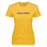 Ladies Gold T Shirt-Geaux Pokes Flat