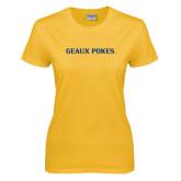 Ladies Gold T Shirt-Geaux Pokes Flat