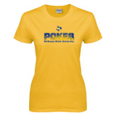 Ladies Gold T Shirt-Pokes Splatter Design