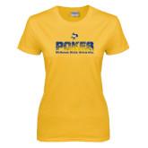 Ladies Gold T Shirt-Pokes Splatter Design