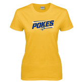 Ladies Gold T Shirt-Pokes Fancy Lines Design