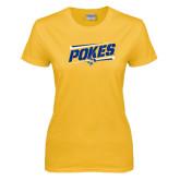 Ladies Gold T Shirt-Pokes Fancy Lines Design