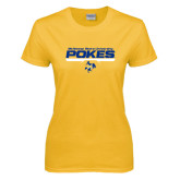 Ladies Gold T Shirt-Pokes Bar Design