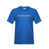 Youth Royal T Shirt-Geaux Pokes Flat