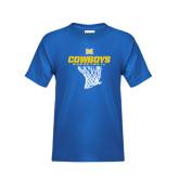 Youth Royal T Shirt-Basketball Net Design