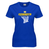 Ladies Royal T Shirt-Basketball Net Design