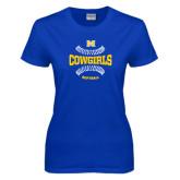 Ladies Royal T Shirt-Softball Seams Design