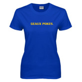 Ladies Royal T Shirt-Geaux Pokes Flat