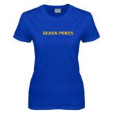 Ladies Royal T Shirt-Geaux Pokes Flat