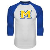 White/Royal Raglan Baseball T Shirt-M