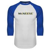 White/Royal Raglan Baseball T Shirt-McNeese