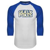 White/Royal Raglan Baseball T Shirt-Geaux Pokes Stacked