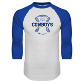 White/Royal Raglan Baseball T Shirt-Baseball Seams Design