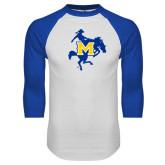 White/Royal Raglan Baseball T Shirt-Primary Mark Distressed