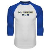 White/Royal Raglan Baseball T Shirt-Mom