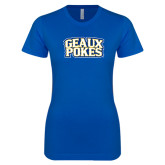 Next Level Ladies SoftStyle Junior Fitted Royal Tee-Geaux Pokes Stacked