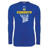 Under Armour Royal Long Sleeve Tech Tee-Basketball Net Design