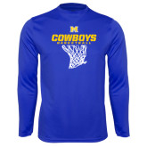 Syntrel Performance Royal Longsleeve Shirt-Basketball Net Design