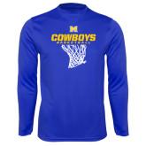 Performance Royal Longsleeve Shirt-Basketball Net Design