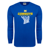 Royal Long Sleeve T Shirt-Basketball Net Design