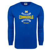 Royal Long Sleeve T Shirt-Softball Seams Design