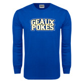 Royal Long Sleeve T Shirt-Geaux Pokes Stacked