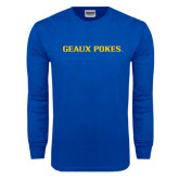 Royal Long Sleeve T Shirt-Geaux Pokes Flat