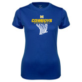 Ladies Syntrel Performance Royal Tee-Basketball Net Design