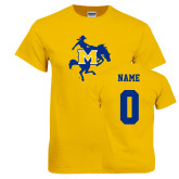 Gold T Shirt-Primary Mark, Custom Tee w/ Name and #
