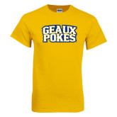 Gold T Shirt-Geaux Pokes Stacked