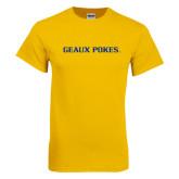 Gold T Shirt-Geaux Pokes Flat