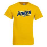 Gold T Shirt-Pokes Fancy Lines Design