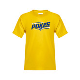 Youth Gold T Shirt-Pokes Fancy Lines Design