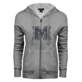 ENZA Ladies Grey Fleece Full Zip Hoodie-Primary Mark Glitter