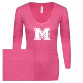 ENZA Ladies Hot Pink Long Sleeve V Neck Tee-M