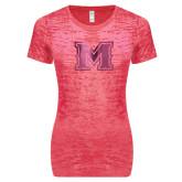 Next Level Ladies Junior Fit Fuchsia Burnout Tee-M Engraved
