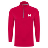Ladies Pink Raspberry Sport Wick Textured 1/4 Zip Pullover-M