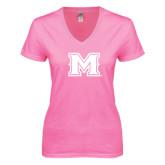 Next Level Ladies Junior Fit Deep V Pink Tee-M