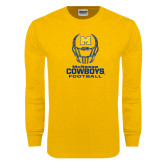 Gold Long Sleeve T Shirt-Football Helmet Design