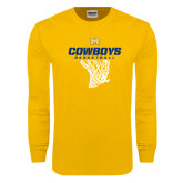 Gold Long Sleeve T Shirt-Basketball Net Design